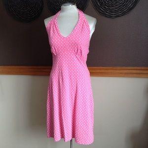retro TALBOTS pink polka dot halter dress S (B6)